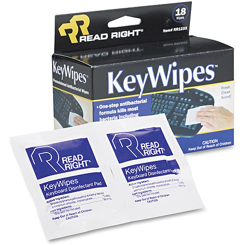 "Read Right KeyWipes Keyboard & Hand Cleaner Wet Wipes, 5"" x 6 7/8"", 18pk"