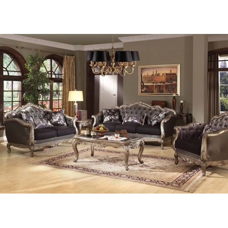 Simple Relax Deluxe Chantelle Collection 3 Pcs Sofa Loveseat Set W/ Pillows Tufted Back Seats ()