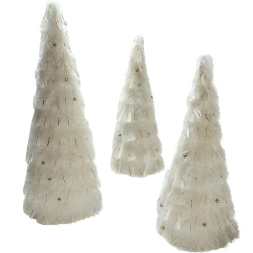 The Holiday Aisle Nature's Luxury 3 Piece Blush Feather Cone Tree Christmas Decorations