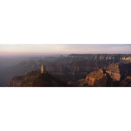 Morning light on the Grand Canyon from Point Imperial on the North Rim Mt Hayden (prominent feature in the left foreground) Grand Canyon National Park Arizona Stretched Canvas - Panoramic Images (27