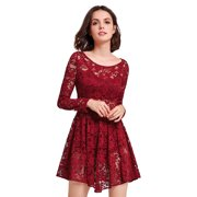 Alisa Pan Women's Fashion A-Line Long Lace Sleeve Sheer Layering Cocktail Holiday Party Casual Dresses for Women 05907