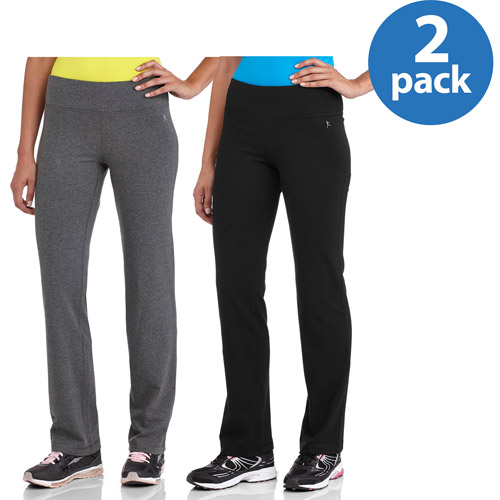 Danskin Now Women's Cotton Straight Leg Pant 2 Pack Value Bundle