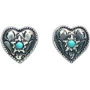 "Bar V Ranch Western Women Earring Engraved Hearts 1/2"" 311-200"
