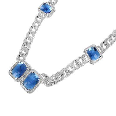 Miami Cuban Gemstone Chain Sapphire Blue Solitaire Stone White Gold Tone Mens