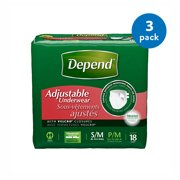 (3 Pack) Depend Adjustable Incontinence Underwear Maximum Absorbency S/M, 18 count