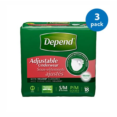 (3 Pack) Depend Adjustable Incontinence Underwear Maximum Absorbency S/M, 18 count (Protective Underwear Men)