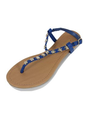 67efec044ed Product Image Cityclassified Women s Adala Flower Studs Leatherette Braid  T-Strap Ankle Strap