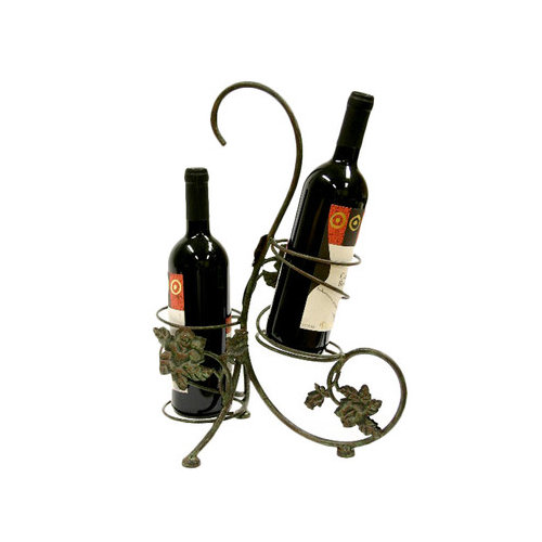 Creative Creations 2 Bottle Rose In Bloom Iron Wine Holder