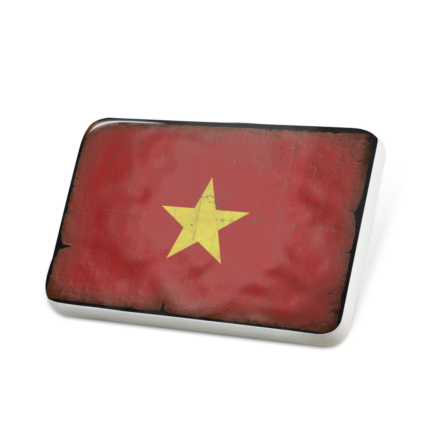 Porcelein Pin Vietnam Flag with a vintage look Lapel Badge � NEONBLOND by NEONBLOND