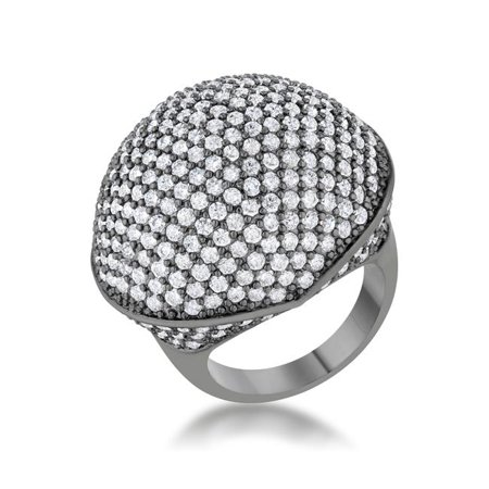 Womens Dara 4.75 CT Cubic Zirconia Hematite Dome Cocktail Ring - Size 5 ()