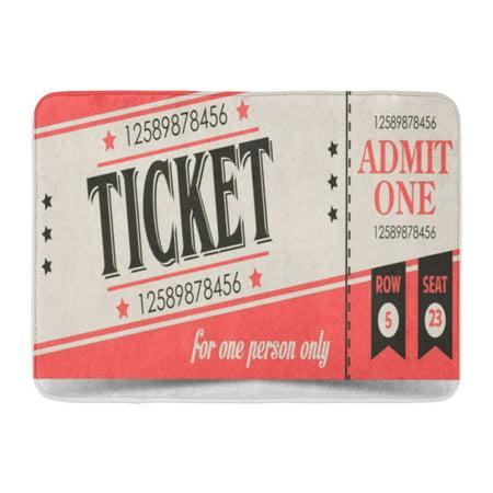 GODPOK Carnival Admit Retro Ticket One Admission Amusement Badge Bar Certificate Rug Doormat Bath Mat 23.6x15.7 inch - Carnival Ticket