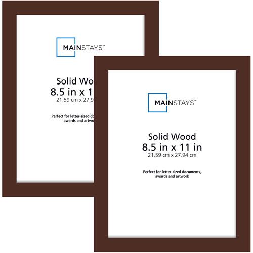 Mainstays 85x11 Wood Photo Frames Brown Set Of 2 Walmartcom