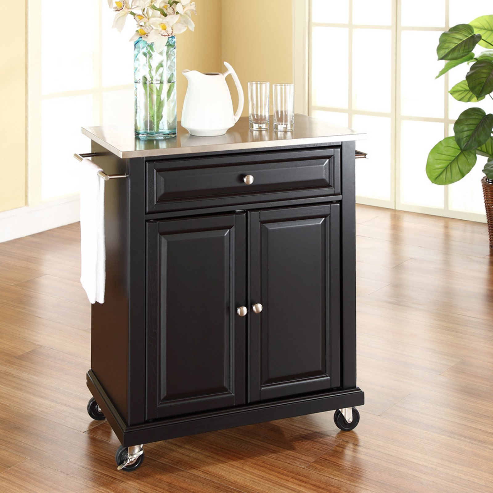 Crosley Furniture Stainless Steel Top Portable Kitchen Cart
