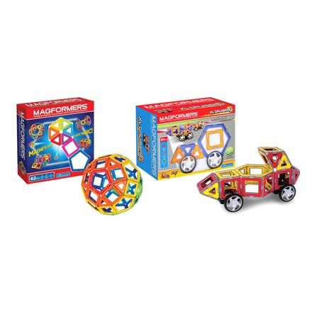 Maven Gifts: Magformers XL Cruisers Car Set (Colors may vary) with 62 Piece