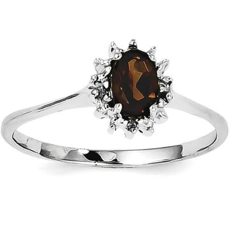 Icecarats 925 Sterling Silver Smoky Quartz Diamond Band Ring Size 7 00  Stone Gemstone Fine Jewelry Gift Set For Women Heart
