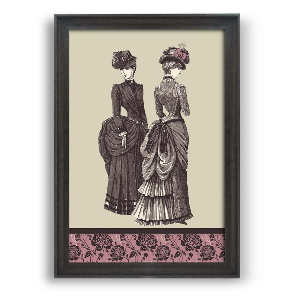 """wall26 - Framed Wall Art Prints - Two Graceful Ladies - Modern Home Decoration. Ready to Hang - Dark Coffee Brown Frame - 16""""x24"""""""