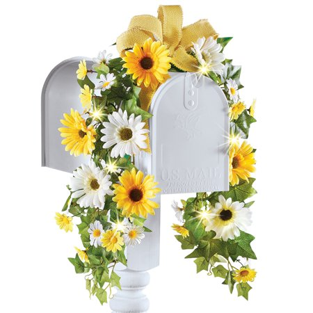 Summer Daisy & Sunflower Floral Mailbox Swag Decoration with Solar Lights - Daisy Decorations