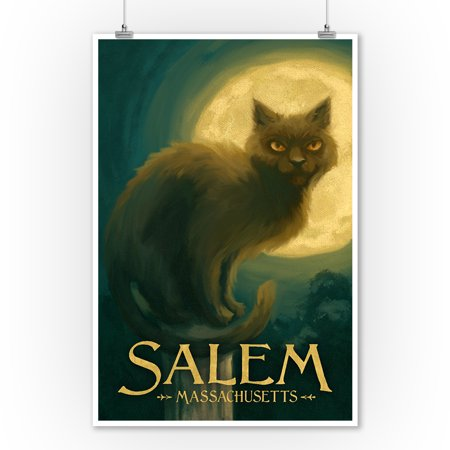 Salem, Massachusetts - Black Cat - Halloween Oil Painting - Lantern Press Artwork (9x12 Art Print, Wall Decor Travel Poster) - Halloween Oil Paintings