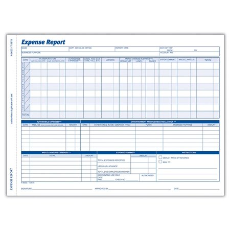 Weekly Expense Report Forms, 2-Part Carbonless, White/Canary, 11.44 x 8.5 Inches, 50 Sets per Pack (9032ABF), Record all business related expenses By