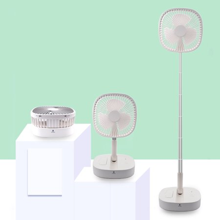 Folding Stand Fan with Remote Control Mini Telescopic Fan USB Rechargeable Table Floor Fan 4 Speeds Adjustable Height for Office Home Outdoor Camping - image 4 de 7