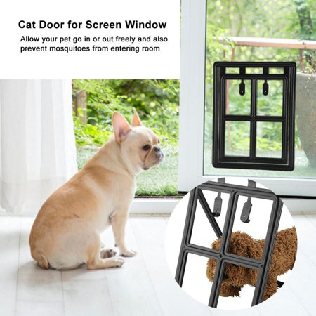 HURRISE Plastic Pet Dog Puppy Cat Door Magnetic Locking Safe Flap for Screen Window Gate
