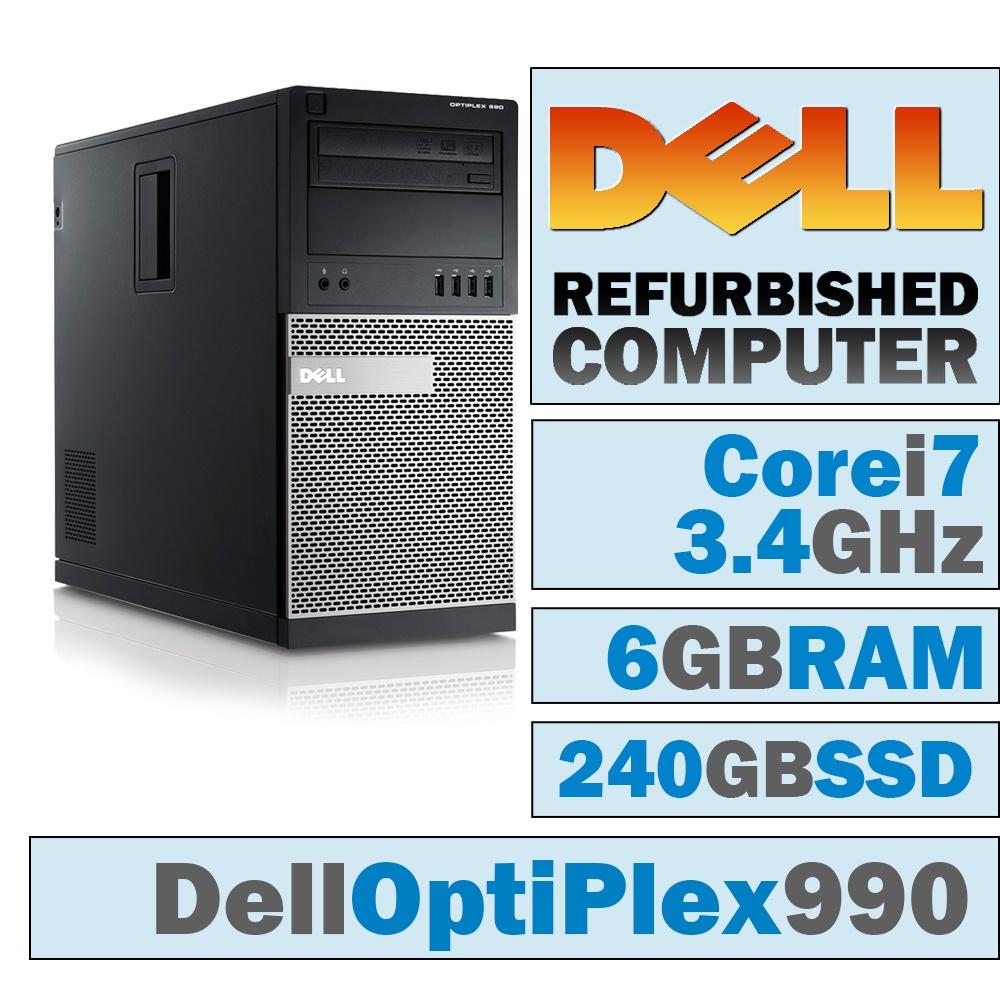 REFURBISHED Dell OptiPlex 990 MT/Core i7-2600 Quad @ 3.40 GHz/6GB DDR3/NEW 240GB SSD/DVD-RW/No OS