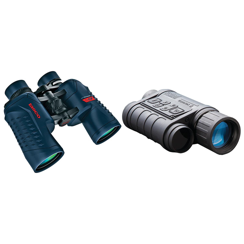 Bushnell 260140 4.5 X 40mm Equinox Z Digital Night Vision Monocular & Tasco 200142 Offshore 10 X 42mm Waterproof Porro Prism Binoculars