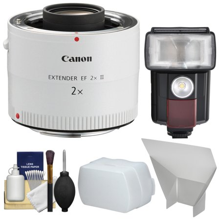 Canon EF 2x Extender III Lens Teleconverter with Flash & LED Video Light + Diffuser + Bounce Reflector + Kit