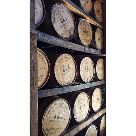 Canvas Print Wooden Whiskey Barrels Bourbon Woodford Reserve Stretched Canvas 10 x