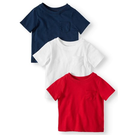 Solid Pocket T-Shirts, 3pc Multi-Pack (Baby Boys)
