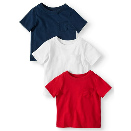 Garanimals Solid Pocket T-Shirts, 3pc Multi-Pack (Baby Boys)](Toddler Boy Halloween T Shirts)