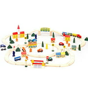 Conductor Carl Wooden Toy Train Track Set with City Figures (100 pieces)