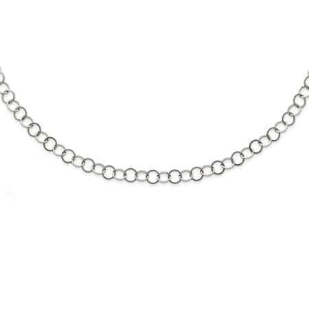 Gemstone Circle Link (Stainless Steel Polished 8mm Circle Link Necklace Chain)