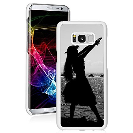 For Samsung Galaxy Hard Back Case Cover Hula Dancer Silhouette Hawaii (White For Samsung Galaxy S8+ (Plus)) (Dancers Silhouette)
