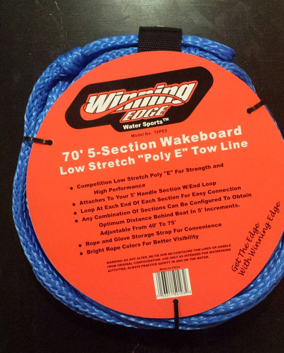 Winning Edge 70' 5-Section Wakeboard Pro Action Low-Stretch Line, Blue by Winning Egde