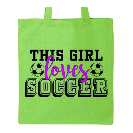 Soccer Girls Bag - This Girl Loves Soccer Tote Bag Lime Green One Size