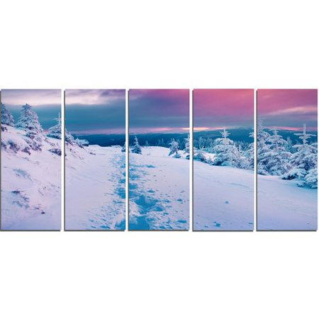 Design Art 'Beautiful Sunrise Over Winter Mountains' 5 Piece Photographic Print on Wrapped Canvas Set