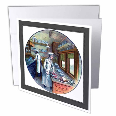 3dRose Chefs Cooking On Train, Greeting Cards, 6 x 6 inches, set of 12