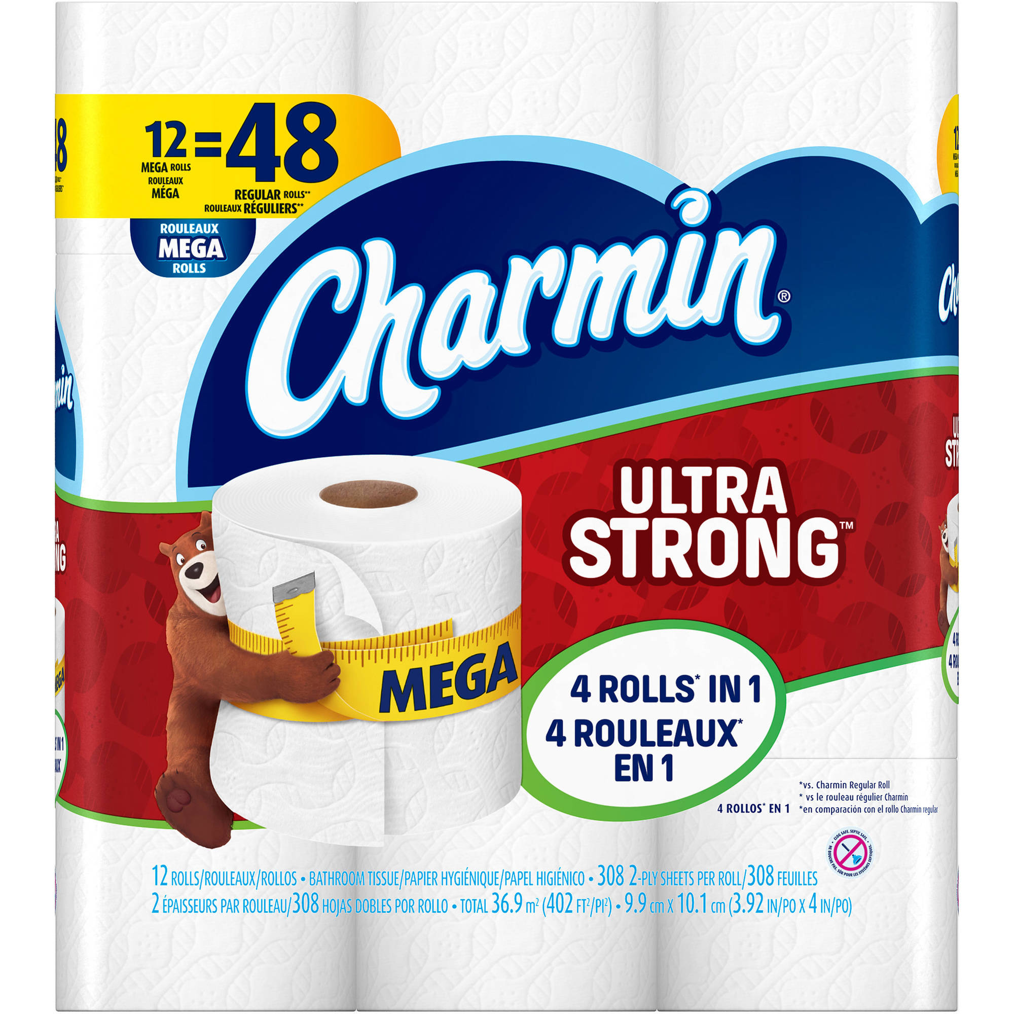 Charmin Ultra Strong Toilet Paper Mega Rolls, 308 sheets, 12 rolls