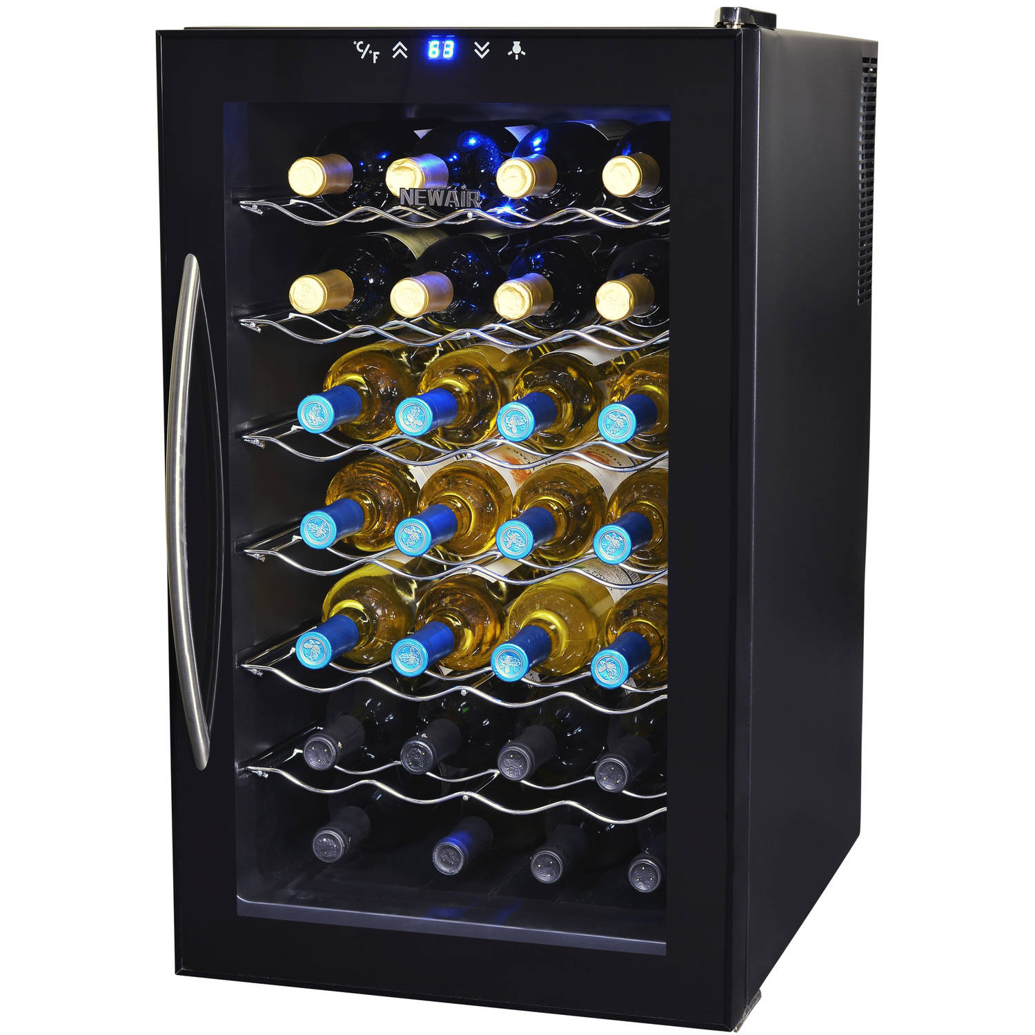 NewAir AW-280E 28-Bottle Thermoelectric Wine Refrigerator, Black