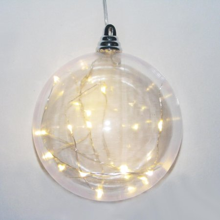 "Battery Operated Clear Shatterproof with LED Lights Ball Christmas Ornament 5.90"" - Walmart.com"