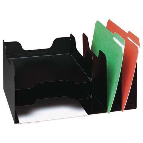BUDDY PRODUCTS 1102-4 Desktop Organizer, Steel, Black, 6 Comp