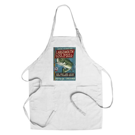 Largemouth Bass Tackle (Large Mouth Bass Tackle - Vintage Sign - Lantern Press Artwork (Cotton/Polyester Chef's)