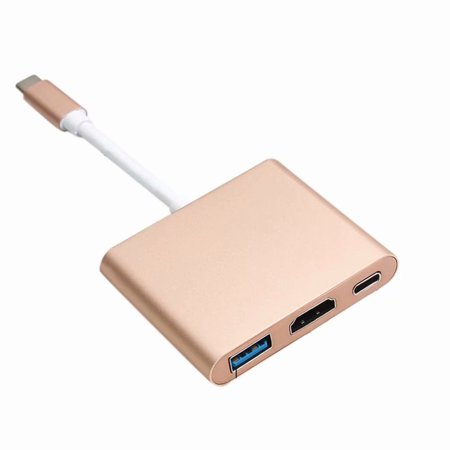 USB Type-C Hub Multiport Adapter Converter, 3-in-1 Type C HDMI for MacBook/MacBook Pro, Google Chromebook and More with USB C Charging Port, 4K HDMI,USB3.0 (Gold)