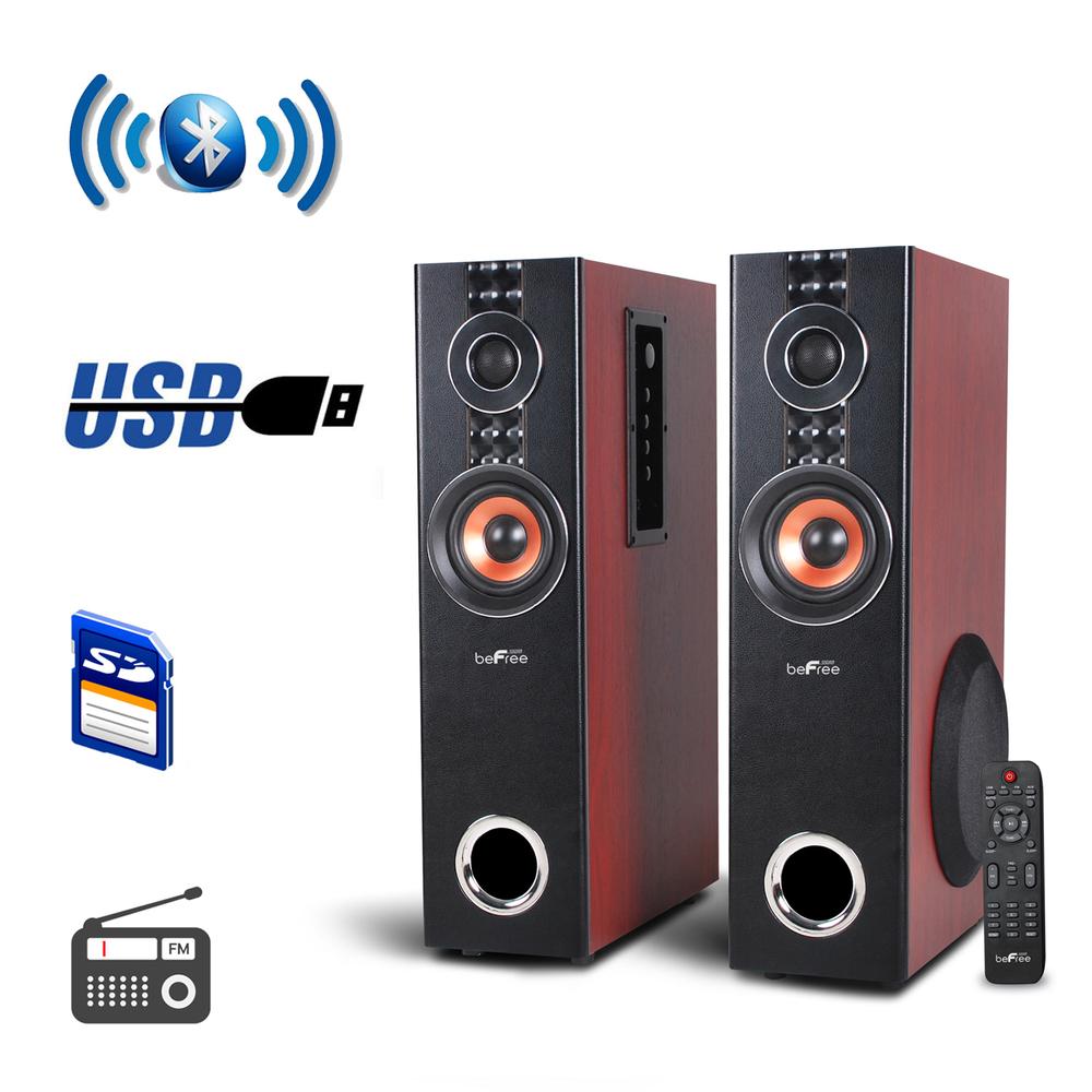 beFree Sound 2.1 Channel Surround Sound Bluetooth Speaker System - Wood