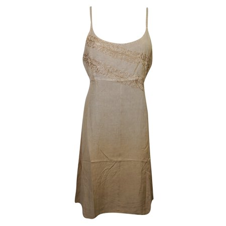 784a002d7c3 Mogul Interior - Mogul Womens Sexy Dress Brown Rayon Floral Embroidered  Scoop Neckline Resortwear Tunic Dress Vintage Sundress - Walmart.com
