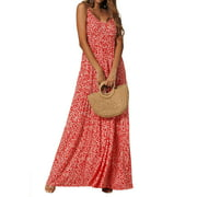 Hawaiian Floral Print Long Maxi Dress For Women Casual Beach Sleeveless V Neck Party Holiday Long Sun Dress Ladies Casual Wrap Summer Paisley Holiday Long Sundress