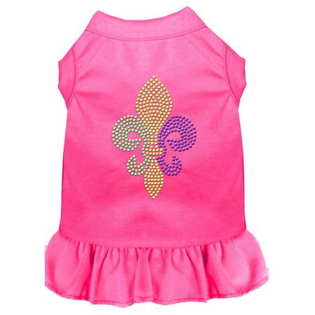 Mardi Gras Fleur De Lis Rhinestone Dress Bright Pink Xxl (18) - Mardi Gras Dress Ideas