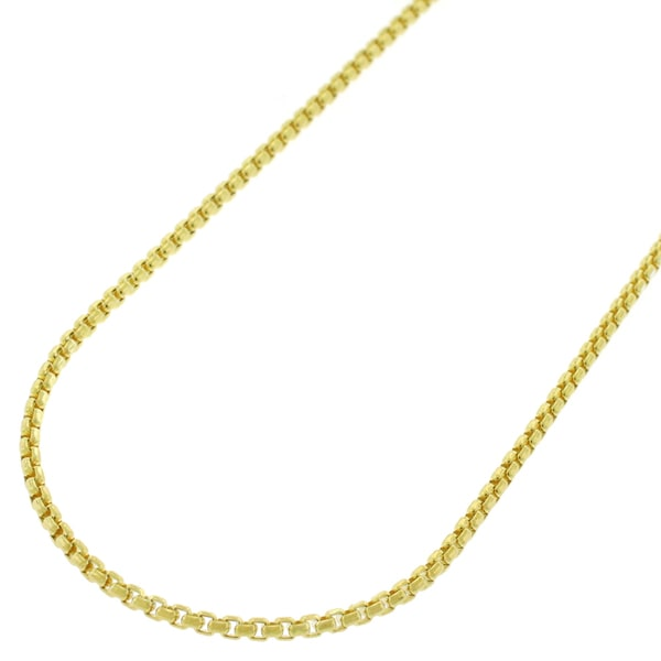 """14k Yellow Gold 1.5mm Round Box Link Necklace Chain 16"""" - 24"""""""