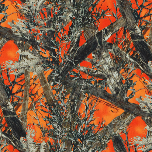 Springs Creative True Timber Camo 100% Polyester Oxford PU Coating Fabric by the Yard, MC2 Blaze Orange